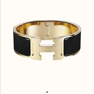 Hermes clic clac h PM noir black gold bracelet